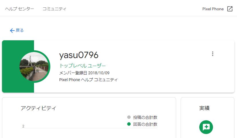 Google Pixel ヘルプ コミュニティ yasu0796 プロフィール