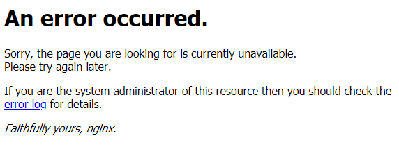 nginx An error occurred