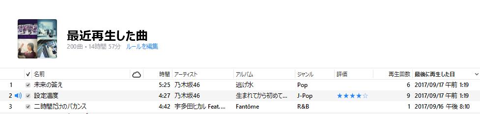 [H29.10.02] iTunes 12.7 更新されない最後に再生した日