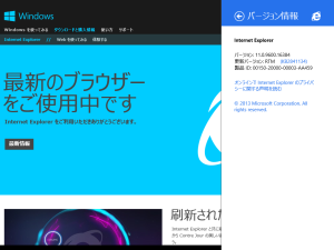 Internet Explorer 11 (Windows 8.1)バージョン情報