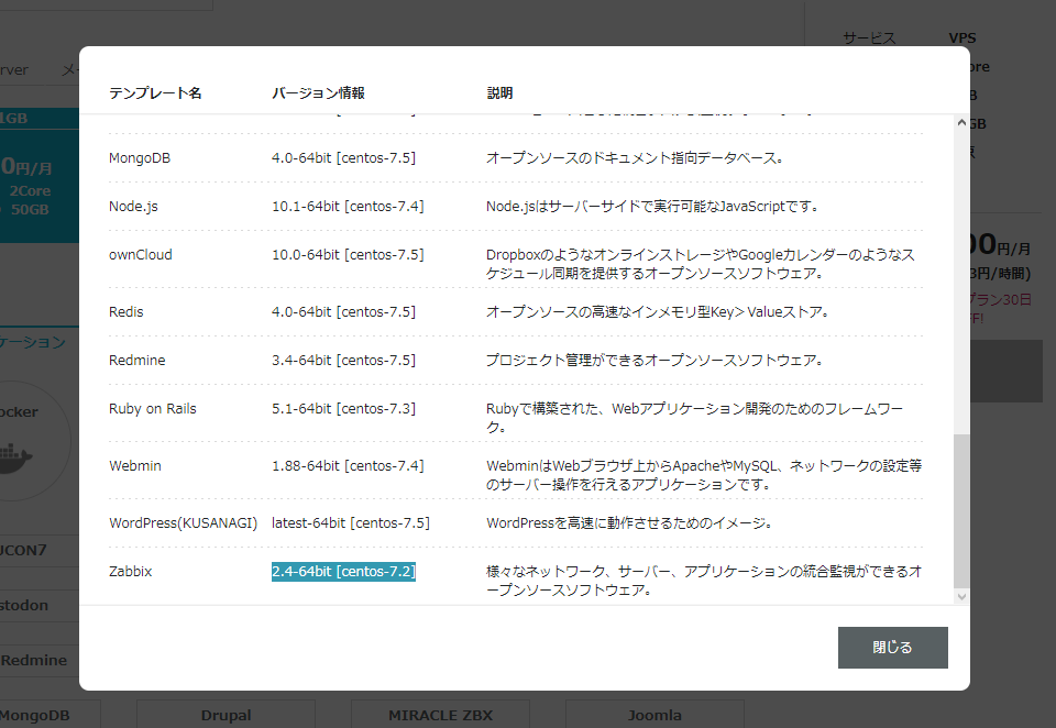 ConoHa Zabbix サーバー追加画面 テンプレート説明