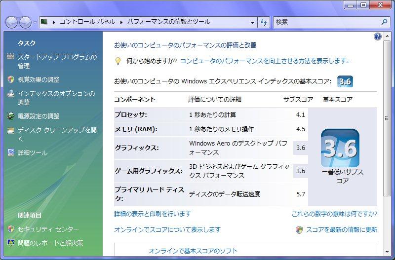 Windows Vistaでのパフォーマンス評価