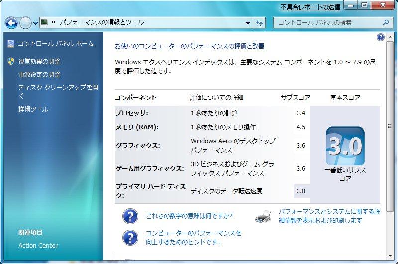 Windows 7でのパフォーマンス評価